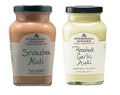 Stonewall Kitchen All Natural Aioli Sriracha 10.25 oz & Roasted Garlic Aioli 10.25 oz (Pack of 2)
