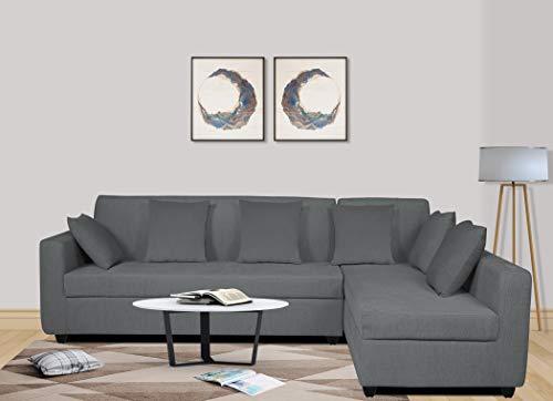 Adorn India Rio Decent L Shape 5 Seater coner Sofa Set (Right Side Handle) (Grey)