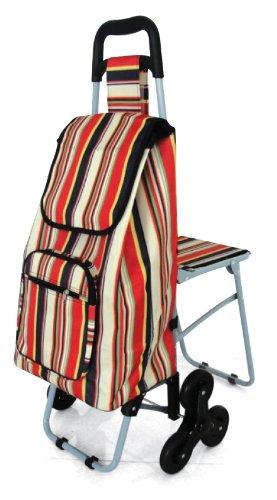 Lifemax Leisure - Carrito para la compra (con asiento y sistema de 6 ruedas para subir escalones)