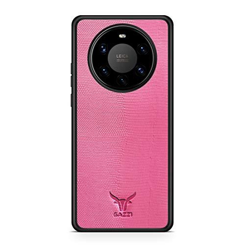 GAZZI Lederhülle für Huawei Mate 40 PRO Hülle Hülle Schale Backcover Handyhülle Schutzhülle Echt Leder, R&umschutz, Flexible Schale (Lizard Rosa)