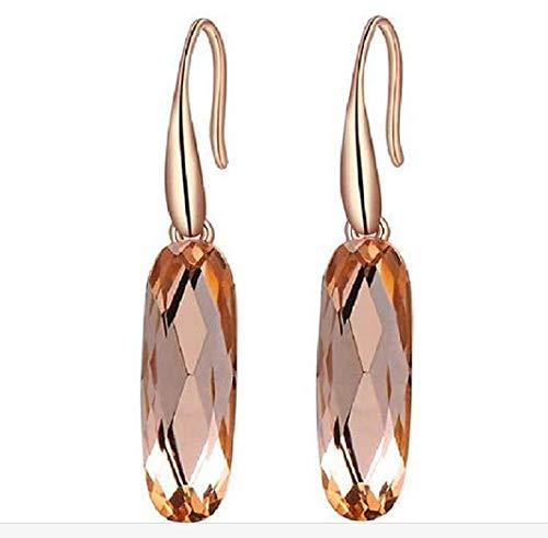 Zonfer 1pair Tropfen-Ohrringe, Oval Champagne-Diamant-Ohrringe Für Frauen