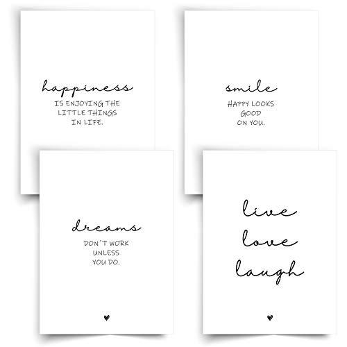 Donari® Poster Set Schwarz-Weiß DIN A4 Kunstdruck Happiness • Wandbilder Deko Wohnzimmer Smile • Wanddekoration Wohnzimmer • Bilder mit Sprüchen