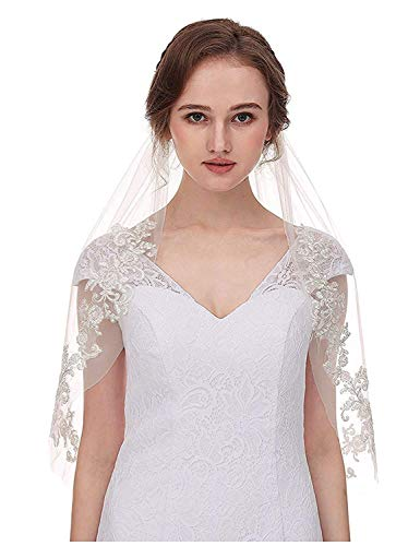 AIBIYI Vintage Inspired Lace Soft Tulle Wedding Veils For Bride With Comb 2 Layers A2