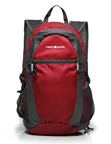 NeatPack Durable, Foldable Nylon Backpack / Daypack with Security Zippers, 20L - Red