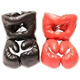 Destinie 2 Pairs 16 OZ Boxing Practice Training Gloves w/Head Gear Protection RED Black