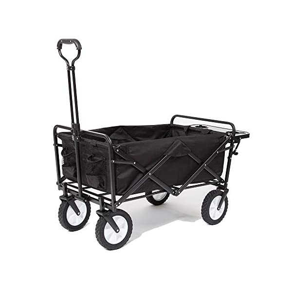 Mac Sports Collapsible Folding Outdoor Utility Wagon with Side Table – Black