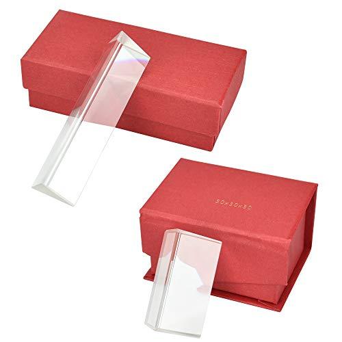 UTRUGAN 2 Stück Dreiecksprisma K9 Glas Prisma Optisches Glas Refraktor Dreieckiger Prismen Fotografie Glas Prisma Kristall Dreiecksprisma Optische Prismen mit Geschenkbox für Fotografie (2 Größe)