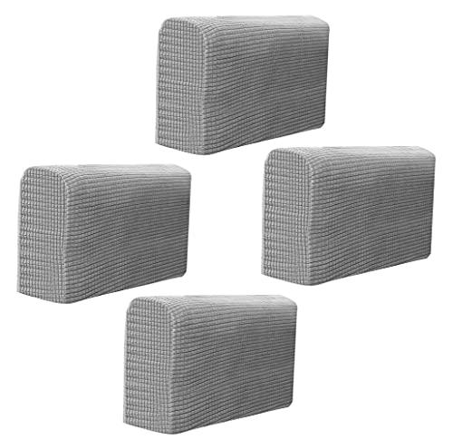 Hruile Juego de 4 fundas elásticas para reposabrazos y sillones de poliéster, antideslizantes, de elastano, fundas para brazos, fundas de silla y sofá, color gris
