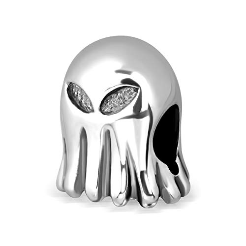 Sistakno Anhänger für Armband, 925 Sterlingsilber, 3D-Halloween, Tintenfisch, Geister, Alien, UFO, Maske, Charm-Anhänger für Armband