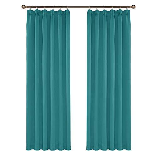 Amazon Brand - Umi Cortinas Dormitorio Moderno Tela Suave Gruesa para Ventanas de Habitación Juvenil Fruncido 2 Piezas 132x214cm Turquesa