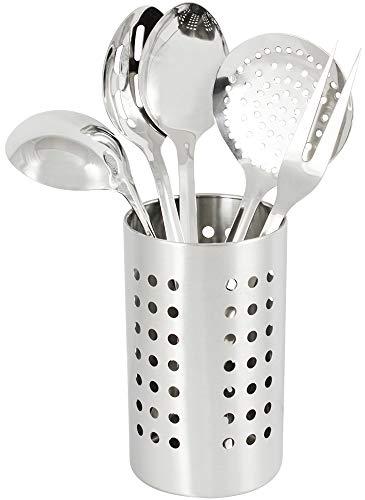 com-four® 6 ustensiles de cuisine, ustensiles de cuisine Ensemble en acier inoxydable, panier à couverts, cuillère, louche, cuillère à égoutter, cuillère à égoutter, fourchette