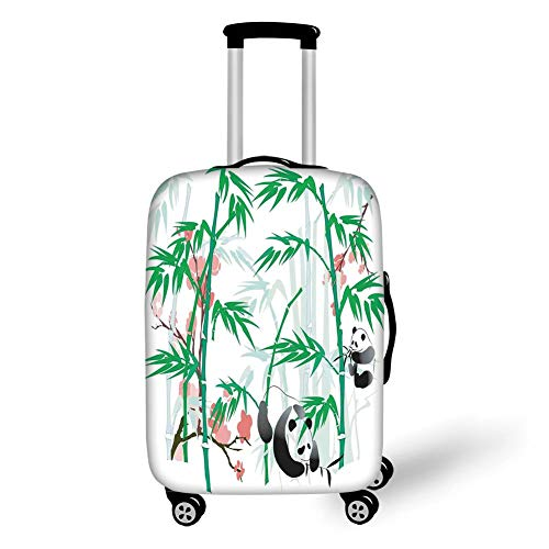 Travel Luggage Cover Suitcase Protector,Bamboo,Giant Woody Grass Bamboos and Panda Bear in Chinese Tropics Artsy Print,Pink Green White Black,for Travel S