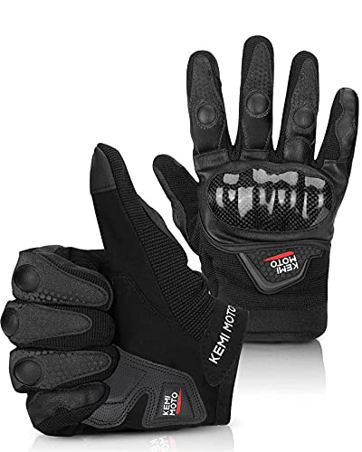 kemimoto Motorcycle Gloves, Summer, Carbon Fiber, Mesh Gloves, Smartphone Compatible, Spring, Autumn, Shockproof, Breathable, Durable, Black, XL)