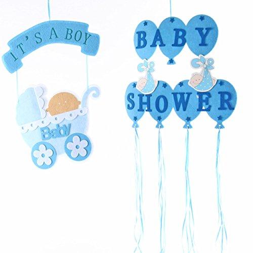 Babyset blau aus Filz | knuellermarkt.de | Babyzimmer Jungen Babyparty-Dekoration für Jungen Baby Baby Shower Babywagen Hängedekoration Kinderzimmer Bär