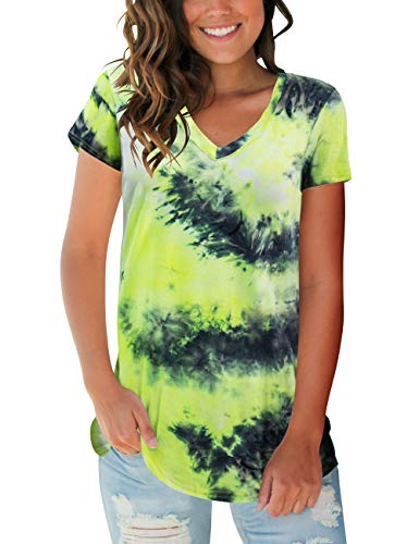 Womens Short Sleeve Tops V Neck Tie Dye Tee Shirts