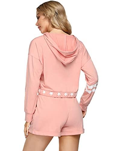 Sykooria Women Tracksuit Set, Hoodies Set Star Printed Jogging Sport Suit Long Sleeve Plus Size Sweatsuit Hoodie +Shorts Sportswear Loungewear Pajamas Set for Women Workout Running Cycling (Pink,M)