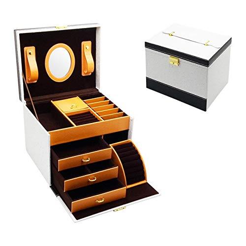 HYSJLS Casa de joyería de Regalo Caja de decoración de la joyería de Cuero Caja de joyería cajón de Almacenamiento Baratijas Organizador (Color : White, Size : L)