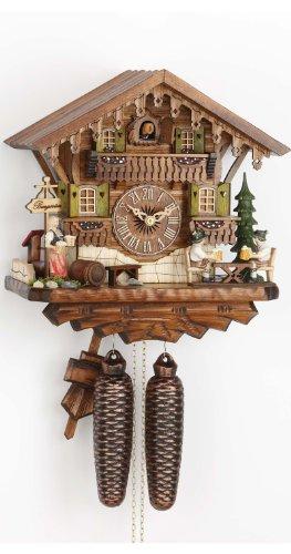 Kammerer Uhren Hekas Kuckucksuhr Schwarzwaldhaus mit beweglichen Biertrinkern KA 884