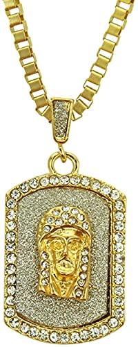 NC198 Hip Hop Diamante Joyas Brillo Jesús Colgante Collar Hombres Hiphop Hip Hop Accesorios