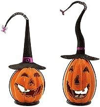 Set of 2 Scary Orange Crackle Finish Halloween Jack-O-Lantern Pumpkin Votive Candle Holders 15