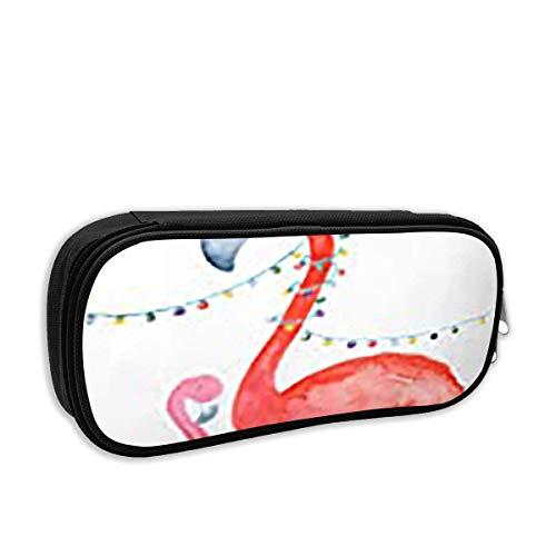 AOOEDM Fashion School Bleistiftetui, Hellrot Vogel Rosa Flamingo Weihnachtsmütze Kalifornien Aquarell Weihnachtsferien Mütze Feiern Sie Stifttasche Büro Schreibwaren Tasche für Schule & Bürobedar