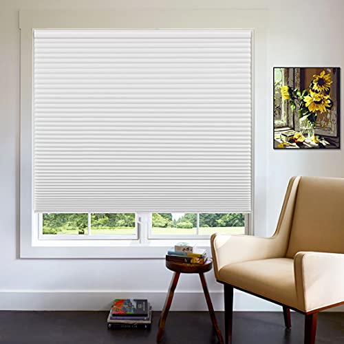Keego Cordless Cellular Shades Blackout, Custom Cut to Size Room Darkening Honeycomb Blinds for Home Office Window, White, Any Size 16-59 Wide and Maximum Height 78 High