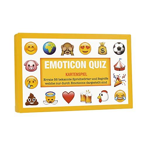 Monsterzeug Kartenspiel, Emoticon Quiz mit 56 Karten, Ratespiel mit Smileys, Sprichwörter und Begriffe erraten als Partyspiel für Jugendliche