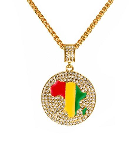 Gudeke Hip Hop Faschion Gold Legierung Schmuck Jamaika Staatflagge Fahne Afrika Landkarte Anhänger Strass Stein für Unisex