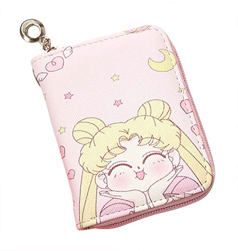 TINGYUANO Anime Sailor Moon Short Wallet Cute Pink Zipper Wallet Coin Purse Card Holder PU Leather