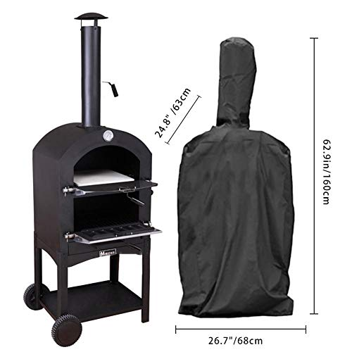Corwar 210T Oxford Pizza Oven Cover Waterproof Heavy-Duty Protective Grill Oven Cover Classic Outdoor Pizza Oven Cover - Durable and Water Resistant Outdoors Camping Cover -3 Size Astonishing