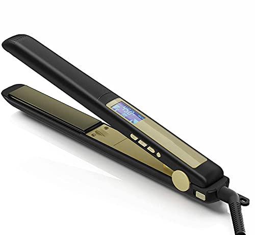 ヘアアイロン ストレートアイロン ストレート カール 2way メンズ 男女兼用 25mm プロ仕様130-230℃温度調整 LCDスクリーン へああいろん専用ポーチ付き アイロン収納 携帯便利 海外対応 ブラック