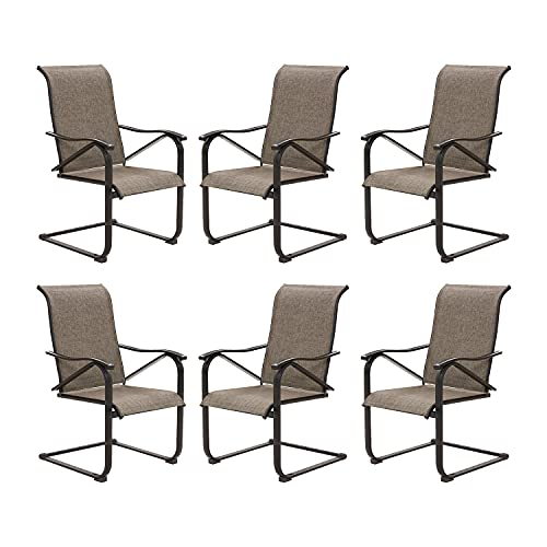 Outdoor Patio C Spring Motion Chairs, High Back Steel Textilene Dining Chair Set, Set of 6
