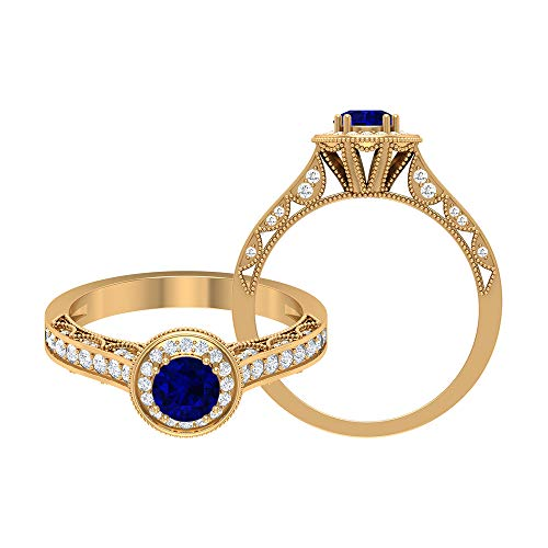 Anillo solitario de zafiro azul de 5,00 mm, anillo de diamante HI-SI, anillo vintage de oro (calidad AAA), 14K Oro amarillo, Size:EU 46