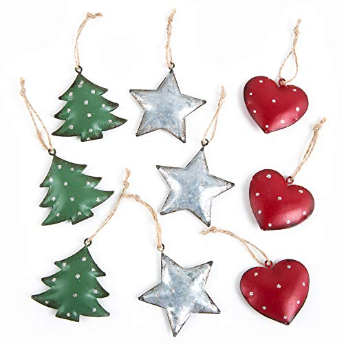 Logbuch-Verlag 9 edle Weihnachtsanhänger Herz Baum Stern grün rot Silber Baumschmuck Metall Anhänger mit Schnur Weihnachtsbaum Weihnachten Deko