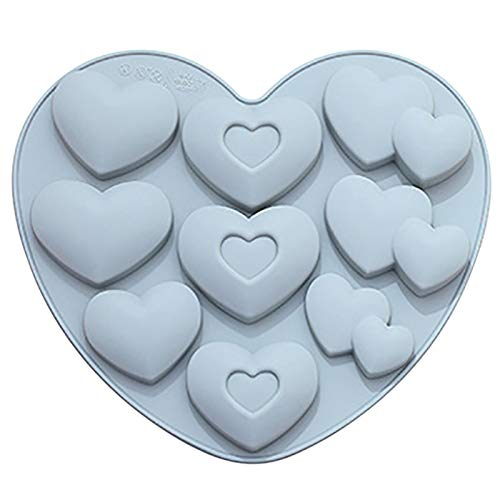 Alacritua Silicone Mould 3D Cake Mould, Silicone Heart Baking Mould,Heart-Shaped Muffin Mould,Chocolate Soap Cake Dessert Mold DIY Tool for Party Valentine's daydecorations, 8.27x7.80x0.71in