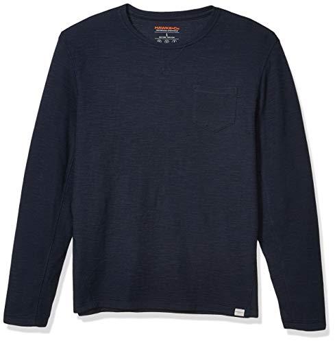 Hawke & Co Men's Big and Tall Crew Neck Mini Waffle Sweatshirt W/Pocket, Eclipse, XX-Large