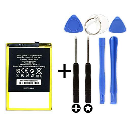 Batterie interne pour OUKITEL K6000 Plus + Kit Outils - Capacité originale : 6080 mAh