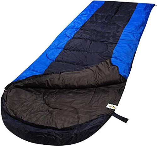 SHOPEE Branded All Seasons Waterproof Adult Sleeping Bag for Camping, Hiking and Adventure Trips - Size: Adult (220 x 70 cm) (Color -Grey with Blue)