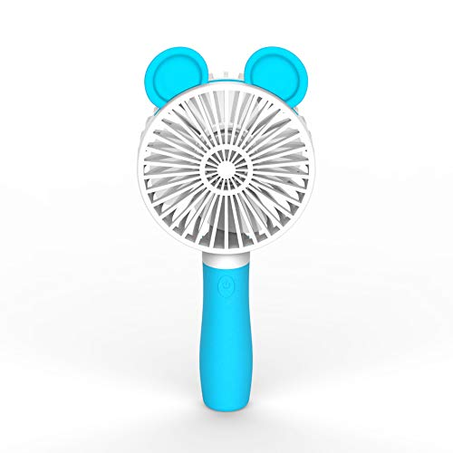 Skynor Mini Personal Handheld Portable Folding Fan, 3 Speed Settings with Lighting Function for Adult, Best for Gifts Outdoor Travel Home. (Blue)