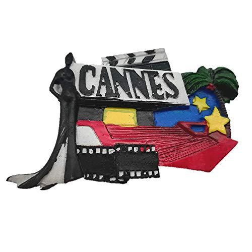 Aimant de réfrigérateur 3D Cannes France - Décoration de maison et de cuisine - Aimant de réfrigérateur - Cadeau souvenir de voyage