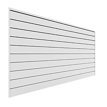 Proslat 88102 Heavy Duty PVC Slatwall Garage Organizer 8-Feet by 4-Feet Section White