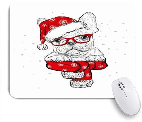 Dekoratives Gaming-Mauspad,Französische Bulldogge Schal Weihnachtsmütze Sonnenbrillen Trend Tiere Hipster Wildlife Lustige Tierferien,Bürocomputer-Mausmatte mit rutschfester Gummibasis