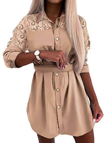 Vestido Camisero de Mujer Vestido de Blusa Manga Larga Cuello de Solapa con Botones Cinturón Casual Elegante (C-Cachi, XL)