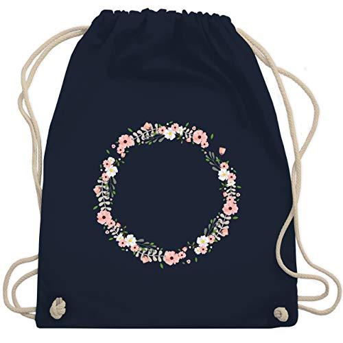 Shirtracer Blumen & Pflanzen - Blumenkranz - Unisize - Navy Blau - sportbeutel kindergarten mit namen - WM110 - Turnbeutel und Stoffbeutel aus Baumwolle