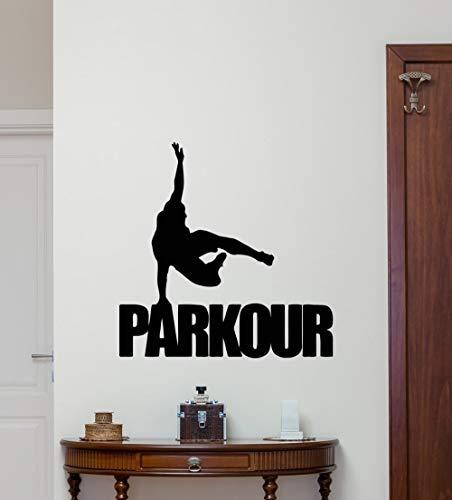 Adhesivo de pared, 56x56cm, calcomanía de pared de Parkour, adhesivo de vinilo para deportes extremos, póster de gimnasio, decoración, mural artístico