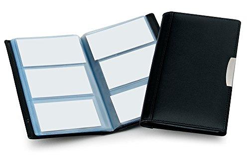 Cescahide - Tarjetero de piel, para 72 tarjetas de visita, color gris