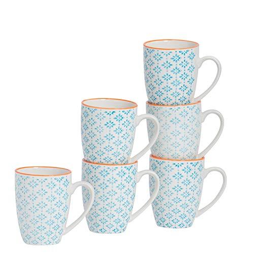 Kaffeebecher/Teetassen - gemustert - 360 ml (12,7 oz.) - Blaues/orangefarbenes Printmuster - 6 Stück