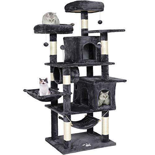 MSmask Kratzbaum groß, 164cm Kratzbaum für Gross Katzen, große Bodenplatte, kratzbaum Grosse Katzen stabil mit Sisal-Kratzstangen Höhlen, Hängematte, Plüschball (Dunkelgrau)