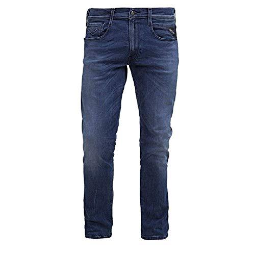 Replay Herren Jeans Hose Anbass blau Indigo Schrittlänge L32, Hosengröße W34