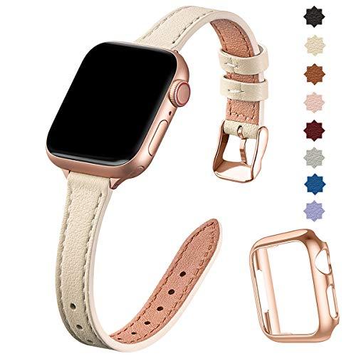 SUNFWR compatible con correa de reloj Apple de 38 mm, 40 mm, 42 mm, 44 mm, correa de cuero genuino, pulsera delgada y delgada para iwatch Series 6/5/4/3/2/1, SE (42 mm 44 mm, Lvory White & Rosegold)